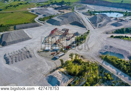 Panorama Aerial View Open Pit Mine Mining, Dumpers, Quarrying Extractive Industry Stripping Work Big