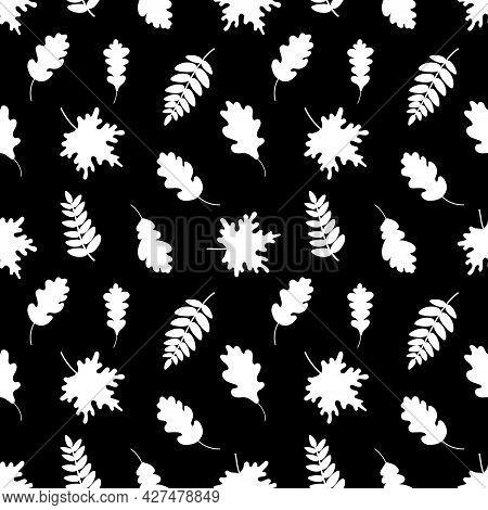 Seamless Pattern Of White Leaves. Vector Illustration