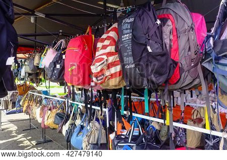 Kudat,sabah-feb 3,2018:counterfeit Famous Branded Bags For Sales In The Street Of Kudat,sabah. Its A