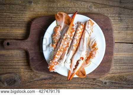 Boiled Crab Food On Wooden Board On The Table, Crab Claws Shellfish