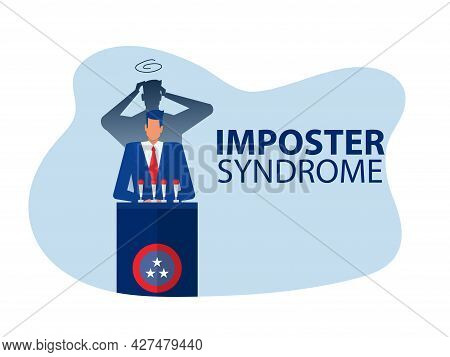 Imposter Syndrome.businessman Standing For Her Present Profile With Fear Shadow Back. Anxiety And La