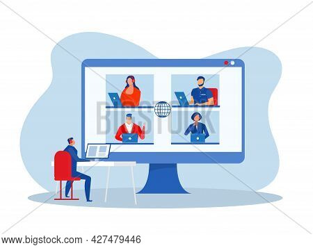 Business Online Conference At Home Business Webinar. Businessman Video Chat. Group On Monitor Utter