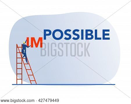 Businessman Changing Impossible To Possible Word On Blue Background