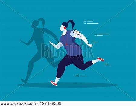 Fat Woman Exercise On With Thin Body Shadow Illustrator Vector