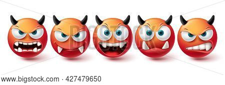 Emoji Evil Face Vector Set. Emojis Bad, Monster, Demon And Scary Red Icon Collection Isolated In Whi