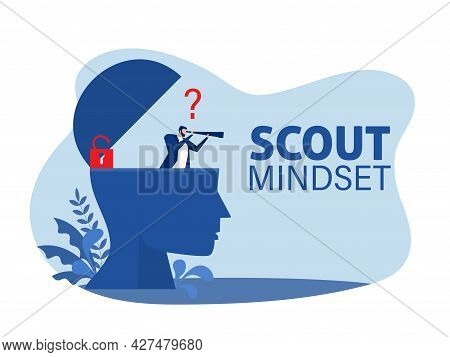 Businessman Looking Through A Telescope On Human Head For Scout Mindset Concept  Vector Illustration