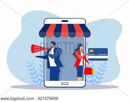 Business Promote Shop Store On Smartphone,shopping Online Concept