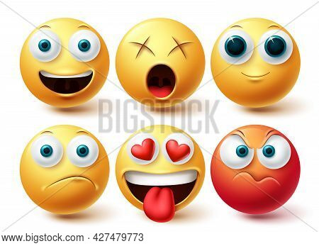 Emoji Vector Set. Emojis Emoticon Happy, Angry, In Love And Dizzy Icon Collection Isolated In White