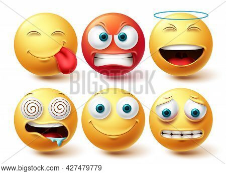 Emoji Face Vector Set. Emojis And Emoticon Happy, Hungry And Angry Icon Collection Isolated In White