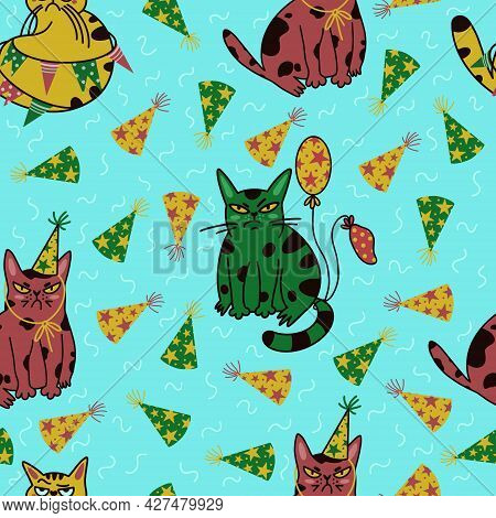 Cute Cartoon Cats Seamless Vector Pattern. Grumpy Kittens Are Celebrating Their Birthday. Animals In