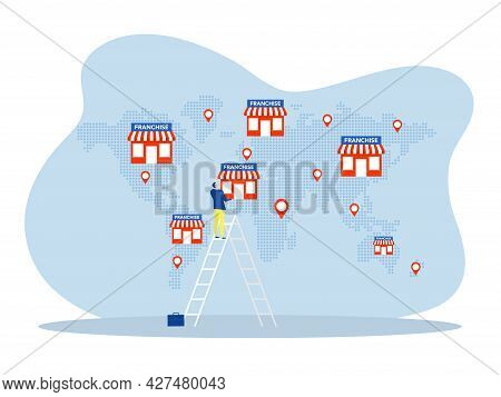 Franchise Business Model For Company Trade Expansion Flat,small Enterprise, Company, Shop, Retail St