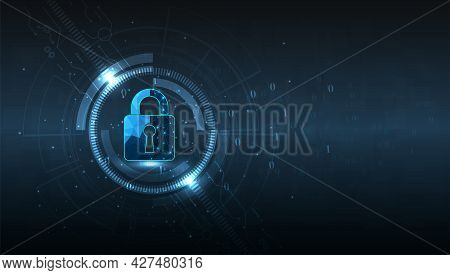 Cyber Security Design.visualization Of Cyber Security With Padlock  Lock On Dark Blue Background.cyb