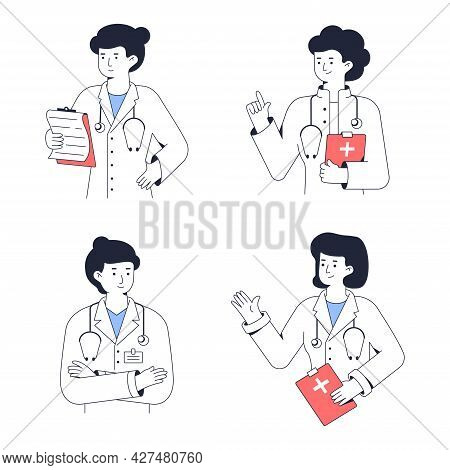 Medical Worker Portrait. Woman Doctor Tells The Diagnosis