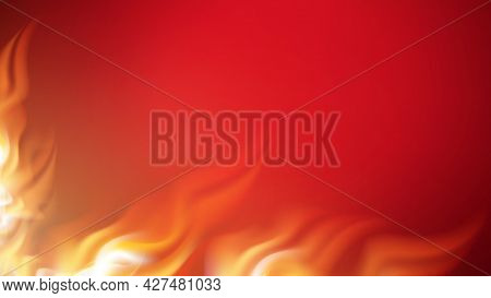 Burning Fire With Flame Tongues Copy Space Vector. Realistic Decorative Flammable Fire Burn. Shiny A