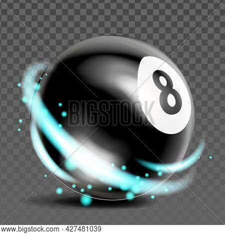 Eight Billiard Ball Sport Game Accessory Vector. Snooker Or Pool Black Ball With Number 8, Sportive