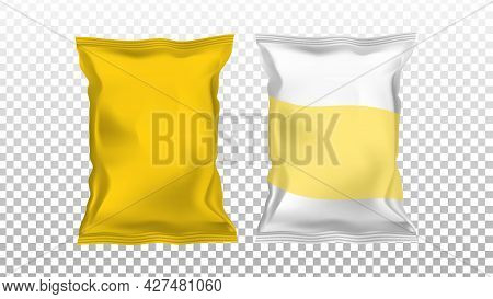 Chips Potato Blank Foil Packages Bags Set Vector. Chips Snack Different Glossy Packaging. Tasty Fry