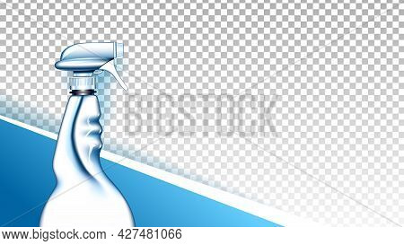 Detergent Liquid Blank Spray Copyspace Vector. Hygienic Detergent Spraying From Package For Clean Wi