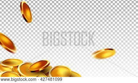 Coins Money Saving And Counting Wealth Vector. Golden Coins Treasure Currency Or Winning Jackpot Luc