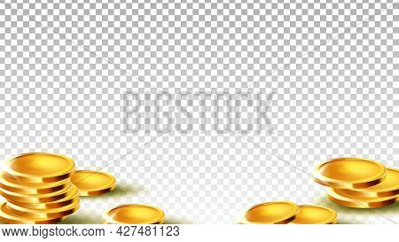 Coins Money Investment Or Saving Piggy Bank Vector. Metallic Coins Treasure For Pay And Buy Goods In