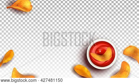 Chips Fried Potato Snack Dip In Ketchup Vector. Eatery Crisp Chips Slices And Tomato Sauce Bowl. Del