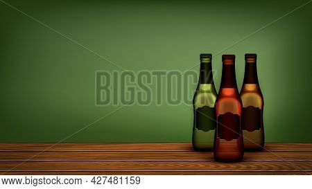 Beer Bottles On Wooden Shelf Copyspace Vector. Brewery Beer Blank Packages Standing On Bar Counter.