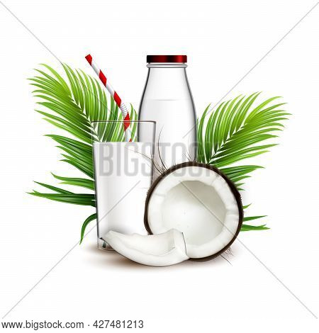 Coconut Milk Natural Drink And Palm Branch Vector. Fresh Coconut Dairy Beverage, Crashed Nut, Green