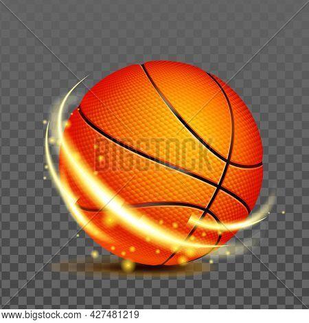 Basketball Ball For Playing Sport Game Vector. Sport Team Player Accessory For Play Basketball Profe