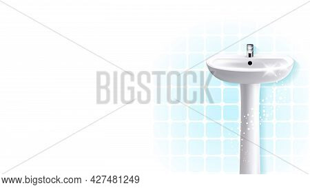 Bathroom Sink With With Faucet Copyspace Vector. Shiny Ceramic Sink With Chrome Crane Appliance And
