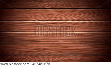 Wooden Table Or Floor Background Copy Space Vector. Surface Of Brown Wooden Texture. Natural Wood Ca