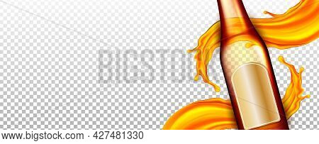 Beer Blank Glass Bottle And Beverage Splash Vector. Craft Brewery Beer Package Pub Bar Alcohol Produ