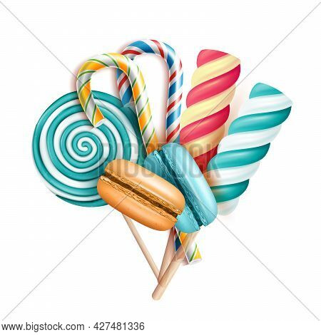 Macaroons Cakes And Lollipop Candies Set Vector. Baked Delicacy Macaroons Cookies And Striped Lollyp