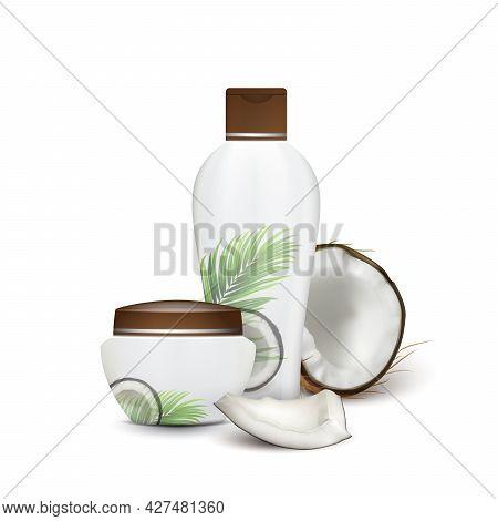 Coconut Natural Shampoo And Cream Cosmetics Vector. Cracked Coconut And Beauty Accessory Blank Conta