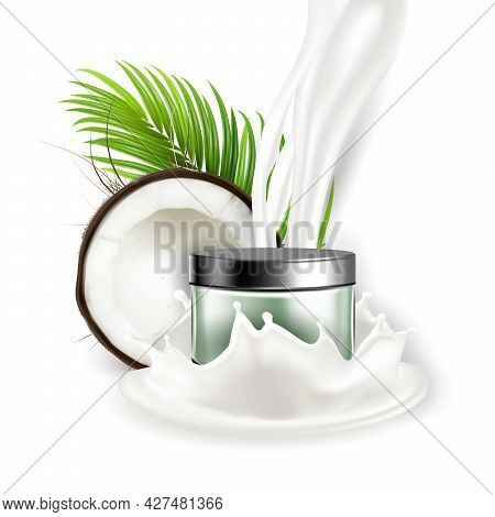 Coconut Natural Cream Cosmetic Package Vector. Crashed Coconut And Palm Green Leaves Branch, Nut Mil