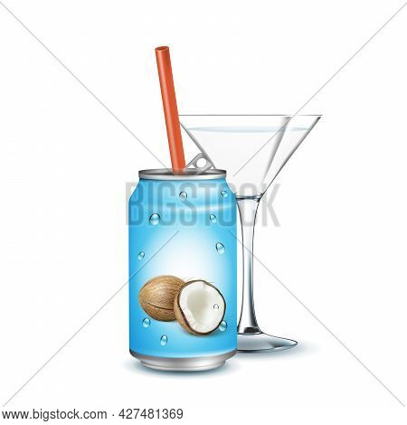 Soda Water With Coconut Taste And Glass Vector. Delicious Sweet Drink Blank Metallic Package With St