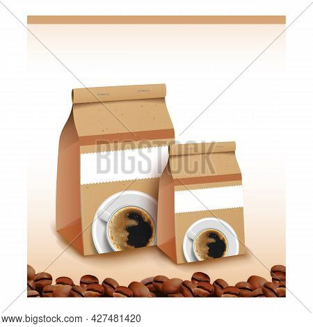 Coffee Beans Product Promotional Poster Vector. Roasted Coffee Beans Blank Paper Packages On Creativ