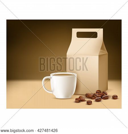 Coffee Caffeine-free Promotional Poster Vector. Coffee Drink Cup, Beans And Blank Paper Package On C