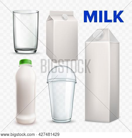 Milk Drink Beverage Blank Packages Set Vector. Bottle And Carton Boxes, Plastic And Glass Cup Collec