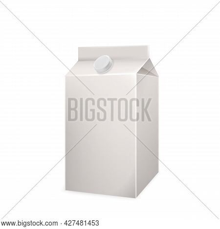 Milk Beverage Blank Carton Box Package Vector. Appetizing Milk Or Kephir Recycling Container, Tasty