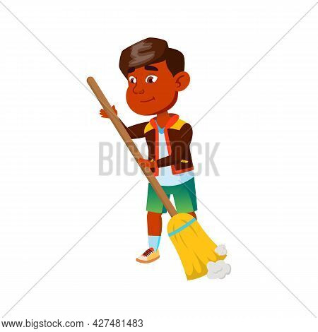 Boy Child Cleaning House Floor With Broom Vector. Indian Cute Kid Sweeping Dust With Broom Tool, Hou