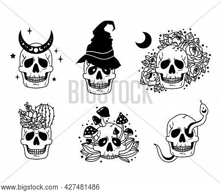 Mystical Skull Isolated Clipart Bundle, Celestial And Floral Boho Skull Collection, Moon And Flowers