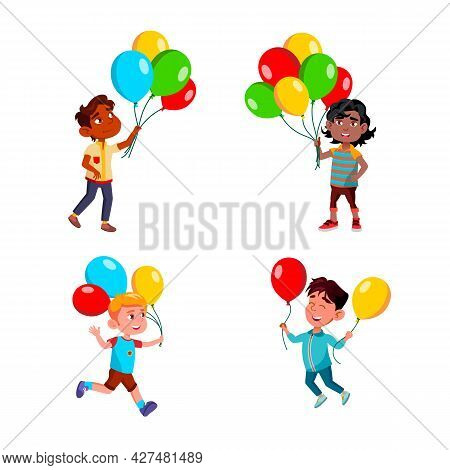 Boys Children Walking With Air Balloons Set Vector. Multiracial Kids Walk, Run And Play With Multico