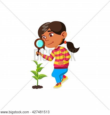 Girl Child Researching Plant With Magnifier Vector. Hispanic Schoolgirl Research Growing Plant With