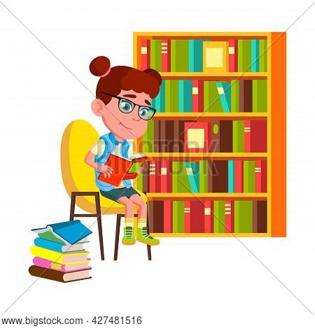 Girl Reading Educational Book In Library Vector. Schoolgirl Sitting On Chair Near Bookshelf And Read