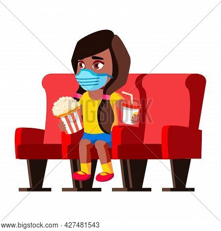Girl Child In Facial Mask Resting In Cinema Vector. Preschool Girl Wearing Protective Facial Mask Wa