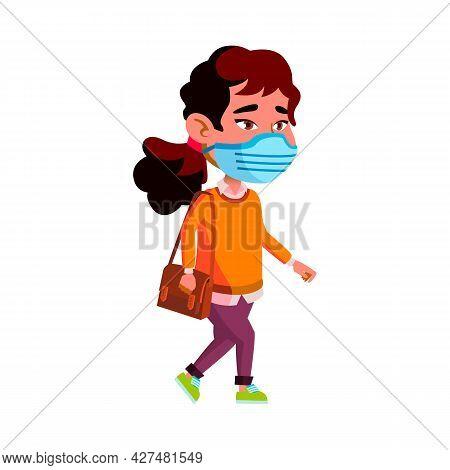 Girl Child Wearing Facial Mask Walking Vector. Asian Schoolgirl Kid Wear Protective Facial Mask Walk