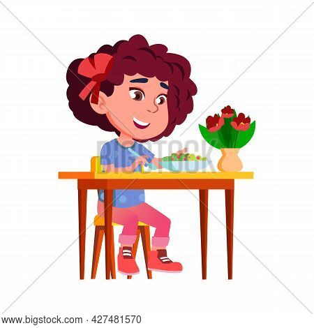 Girl Child Eating Vegetable Vitamin Salad Vector. Caucasian Little Lady Kid Sitting At Table And Eat