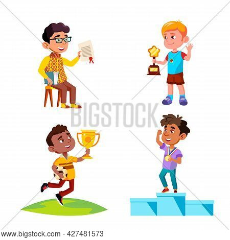 Boys Kids Celebrate Victory With Award Set Vector. Children Winners Standing On Pedestal With Medal