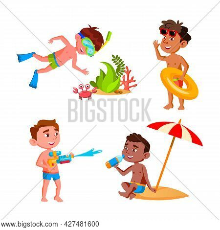 Boys Kids Vacation Activity On Beach Set Vector. Children Swimming In Sea With Lifebuoy And Research