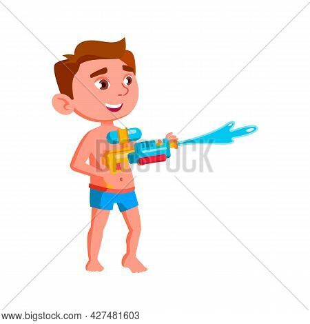 Boy Kid Playing With Water Gun On Beach Vector. Caucasian Preteen Child Play And Splashing With Wate