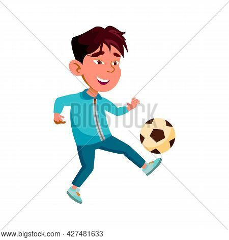 Boy Child Playing And Training Soccer Game Vector. Asian Kid Player Play Football Sport Game With Ba